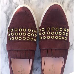Kate Spade Courtney Grommet Slip On Burgundy
